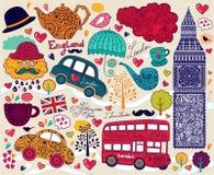 Set av London symboler Royaltyfria Bilder