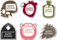 Set av lyckliga Halloween etiketter Royaltyfria Foton
