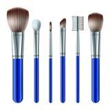 Set av makeupborstar Arkivfoto