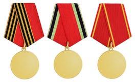 Set av medaljen på white Royaltyfri Bild