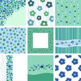 Set av nio abstrakt blom- bakgrunder. Royaltyfria Foton