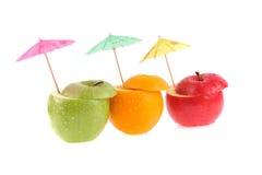 Set av olika frukter Arkivfoto