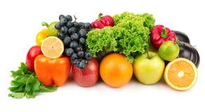Set av olika frukter och grönsaker Arkivfoton