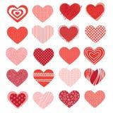 Set av olika hjärtor Arkivbilder