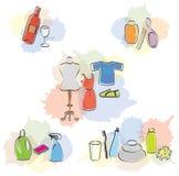 Set av olika objektskönhet-/cleaning-/klädersymboler Arkivbilder
