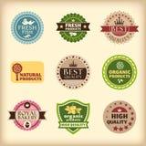 Set av olika retro etiketter Arkivbild