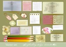Set av paper objekt för vektor för scrapbooking Vektor Illustrationer