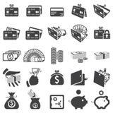 Set av pengarsymboler stock illustrationer