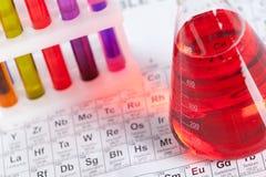 Set av provrör och flaskan på den periodiska tabellen Royaltyfri Bild