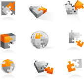 Set av pusselsymboler och logoer