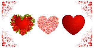 Set av röda förälskelsehjärtor Arkivfoton