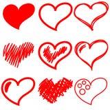 Set av röda hjärtor Royaltyfria Foton