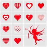 Set av röda hjärtor Arkivbild