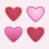 Set av röda hjärtor Royaltyfri Fotografi