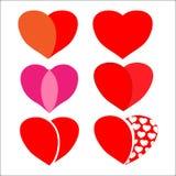 Set av röda hjärtor vektor illustrationer