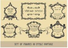 Set av ramar i stil tappningen Arkivfoton