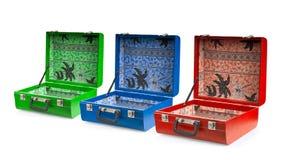 Set av resväskor. Fotografering för Bildbyråer