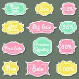 Set av retro etiketter Royaltyfri Fotografi