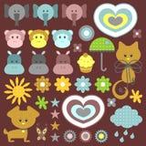 Set av söta barnsliga element stock illustrationer