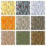 Set av seamless kamouflagemodeller Arkivbilder