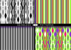 Set av seamless modeller f?r vektor Ändlösa texturer i svartvit plast- rosa ufogräsplan och purpurfärgade färger för proton stock illustrationer