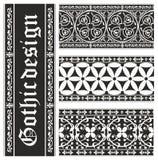Set av seamless svartvita gotiska prydnadar Arkivbild