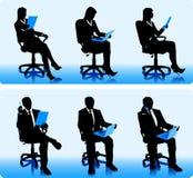 Set av silhouettes av affärsfolk Arkivbild
