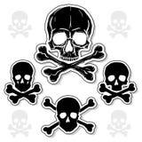 Set av skallar med Crossbones royaltyfri illustrationer