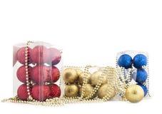 Set av skinande Jul-tree garneringar Royaltyfria Foton