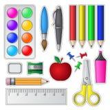 Set av skolahjälpmedel och tillförsel Arkivfoton