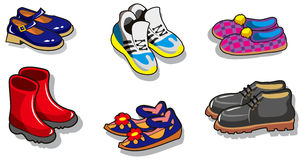 Set av skor vektor illustrationer