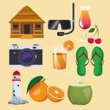 Set av sommarsymboler stock illustrationer