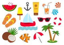 Set av sommarsymboler också vektor för coreldrawillustration royaltyfri illustrationer