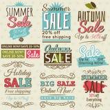 Set av specialförsäljningserbjudandeetiketter och baner Royaltyfri Bild