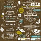 Set av specialförsäljningserbjudandeetiketter och baner Royaltyfria Foton