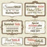 Set av specialförsäljningserbjudandeetiketter och baner Arkivfoton