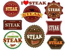 Set av steaketiketter Arkivbilder