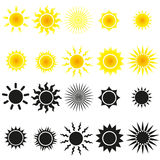 Set av sunvektorer i yellow och black Fotografering för Bildbyråer