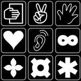 Set av symboler (händer, andra) Royaltyfri Bild