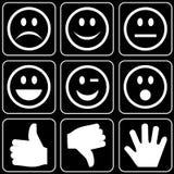Set av symboler (händer, leenden) Royaltyfri Fotografi