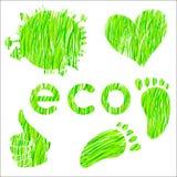 Set av symboler med den gröna grästexturmiljön Arkivfoto