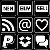 Set av symboler (sell, andra) Arkivfoto