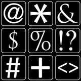 Set av symboler (tecken, symboler) Fotografering för Bildbyråer