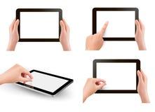 Set av tabellPC med händer Arkivfoton