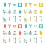 Set av tand- symboler Royaltyfri Bild