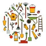 Set av trädgårds- hjälpmedel Arkivbild