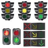 Set av trafikljus. Arkivbilder