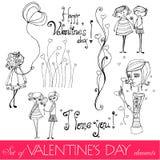 Set av valentindags element stock illustrationer