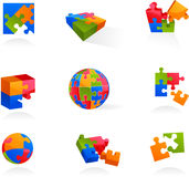 Set av vektorpusselsymboler och logoer Arkivfoto