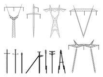 Set av vektorsilhouettes av pylonskraftledningen. Arkivfoton